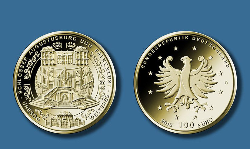 Neuer Goldeuro vorgestellt: 100 Euro Goldmünze Augustusburg-Falkenlust in Brühl kommt 2018