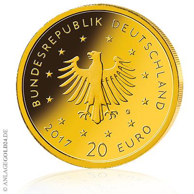 20 Euro Goldmünze Heimische Vögel Wertseite