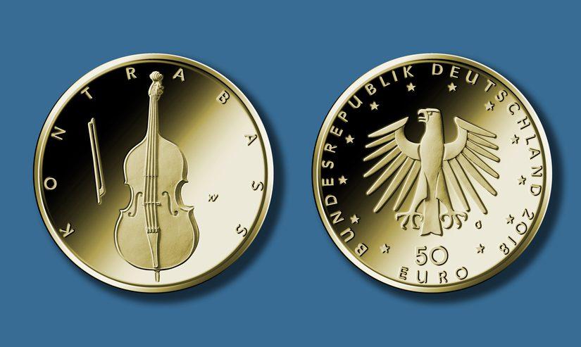 Kontrabass Goldmünze 50 Euro 2018 vorgestellt – neue Münzserie aus Deutschland