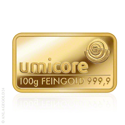 Goldbarren Umicore 100 Gramm geprägt