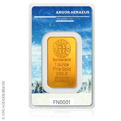 Goldbarren Argor Heraeus Winter Edition 2017/2018