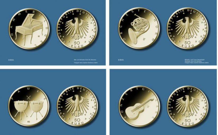 Nach Kontrabass 50 Euro Goldmünze kommen: Hammerflügel, Orchesterhorn, Pauke und Konzertgitarre
