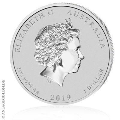 Silbermünze Schwein 2019 mit Queen Elisabeth