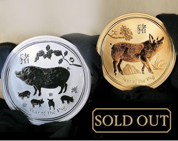 1 oz Jahr des Schweins in Silber und Gold AUSVERKAUFT