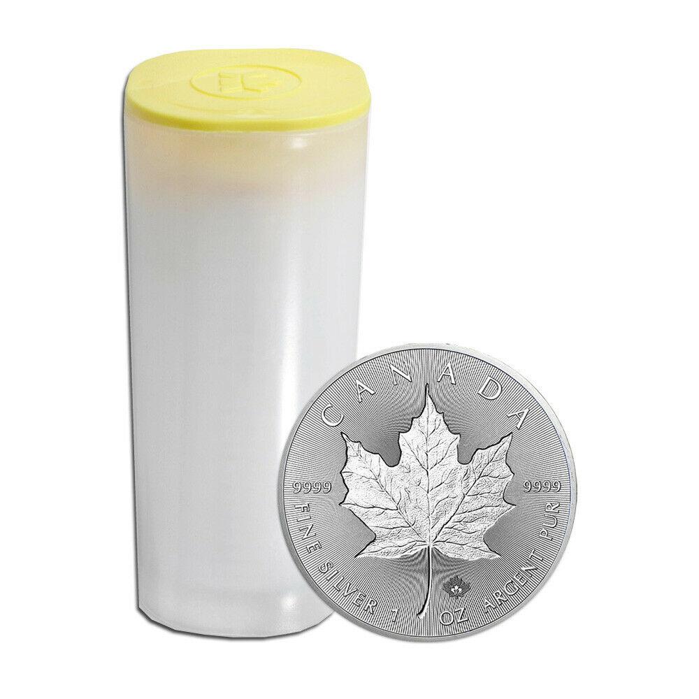 tube mit Maple Leaf Silbermünzen