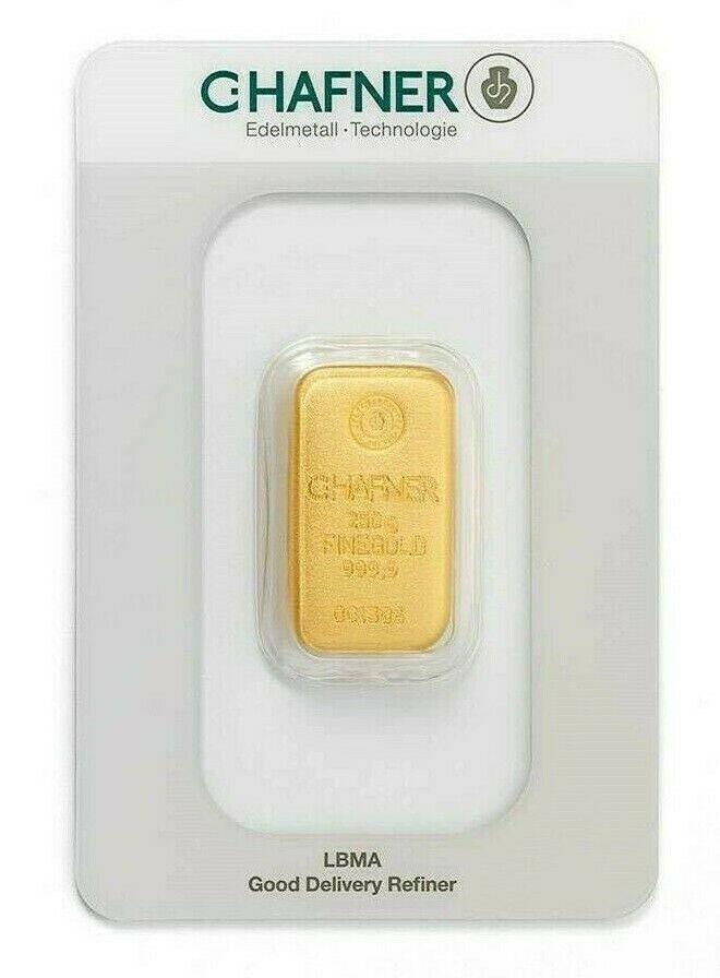 gegossener Goldbarren von Hafner