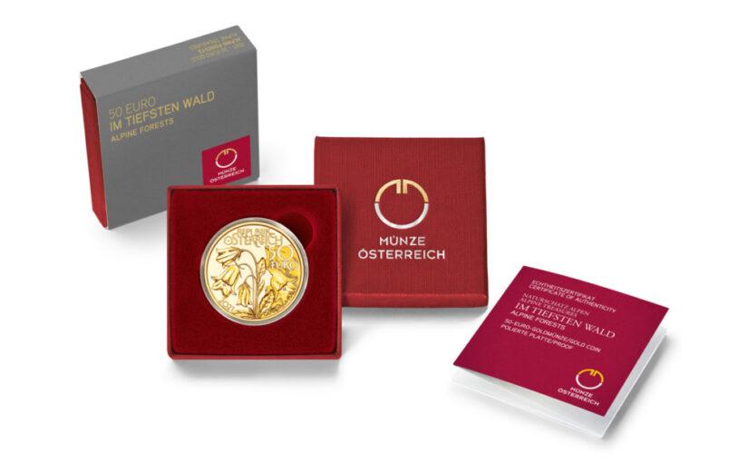 """2. GOLDMÜNZE DER NEUEN SERIE """"NATURSCHUTZ ALPEN"""" – 50 Euro Gold """"Im tiefsten Wald"""" 2021"""